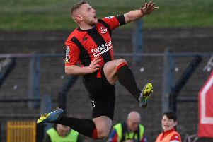 David Cushley celebrates scoring against Coleraine in the semi-final