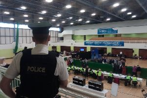 General view of counting in the Valley Leisure Centre at the weekend