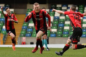 Ross Clarke celebrates his goal in the Irish Cup final