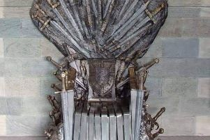 A replica Iron Throne.
