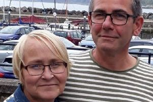 Grace Geddis pictured with her partner Brian McCallion.