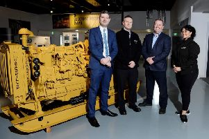 Pictured at the firm's Larne facility are Christopher Morrow (Head of Policy at NI Chamber); Stephen Martin (Environment Manager at Caterpillar NI); Mark McClure (Director of Caterpillar NI) and Natasha Sayee (Senior Lead Public Affairs Specialist at SONI).