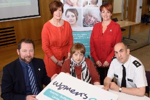 The Commissioner for Older People for Northern Ireland - Eddie Lynch, Women's Aid ABCLN Ambassador Cllr Noreen McClelland, Women's Aid ABCLN CEO Rosemary Magill, MLA Pam Cameron, PSNI Chief Superintendent Simon Walls.