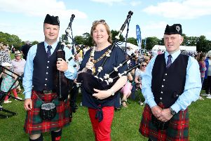 Mayor Councillor Maureen Morrow at the 74th All-Ireland Pipe Band Championships at Ballymena Academy.