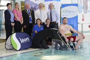 Jackie Fulton (Antrim Forum Manager), Ellen Boyd (Customer Accessibility Officer), Mayor of Antrim and Newtownabbey, Ald John Smyth, Robert Heyburn (Department for Communities), Matt McDowell (Head of Leisure), Andrea Herron from Disability Sport NI, Jayne Moore from Sport NI and Gareth McNeilly launch the Poolpod at Antrim Forum.