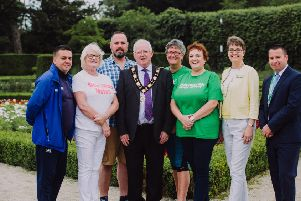 Pictured at the recent celebration event for Move More in Antrim and Newtownabbey are Alan McCausland, Move More Coordinator; Yvonne Keag, Move More participant ; Robert Davidson, Move More participant; Alderman John Smyth, Mayor of Antrim and Newtownabbey; Dr Fiona Stewart, Move More participant; Jacqueline Adams, Move More participant; Moyra Mills, Northern Health and Social Care Trust; and Diarmaid McAuley, Macmillan Cancer Support.