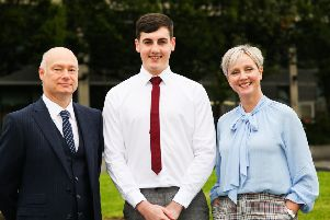 (L-R) Professor Paul Bartholomew (Deputy Vice-Chancellor at Ulster University), Philip Black (Placement student with PwC studying Business Economics at UU), and Lynne Rainey (PwC Deals Partner and NI Student Recruitment lead).