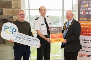 Councillor Paul Dunlop, Chair of PCSP, Chief Superintendent Walls, PSNI and Mayor of Antrim and Newtownabbey, Alderman John Smyth at the Scamwise Reminder meeting