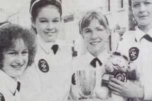 The Larne St John Ambulance Nursing Cadets team who won the National Quiz Competition in London - Patricia, Heather, Julie, Gillian and Michelle.'Larne Times 1989