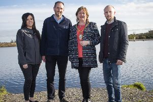Hannah Currie RPS, David McClean, NI Water, the Mayor of Mid and East Antrim, Cllr Maureen Morrow and Mark Rogers, Euro Services, at Woodburn South reservoir.