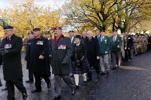 Veterans attended the Remembrance Sunday event in Ballyclare on November 10.