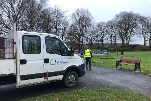 Antrim and Newtownabbey Borough Council staff cleaned the park on Sunday. Pic by Love Ballyclare.