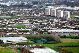 The four iconic tower blocks in the Rathcoole estate.
