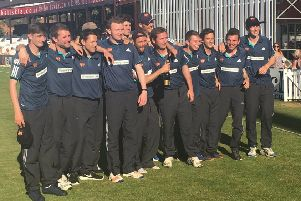 CHAMPIONS - Old Northamptonians celebrate their T20 Finals Day success