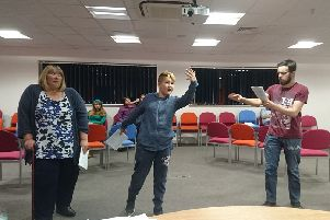 Duston Players in rehearsals for their pantomime