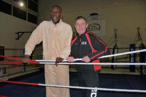 Frank Bruno and head coach at Far cotton Boxing Club John Daly, at the launch of Frank's new project in Northampton this week.