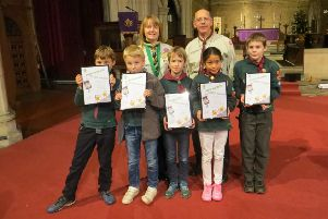 Northampton's Assistant District Commissioner for Cub Scouts, Esther Phillips presented the six Cubs with their Chief Scout's Silver Awards