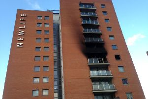 The Newlife building today. The cause of the blaze at the block of flats last night is not yet known.