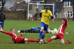 GANGING UP - action from Queen's Park's win over Hartwell (Pictures: Dave Ikin)