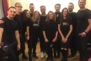Johnny with the Aveda styling team from London Fashion Week