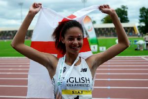 Northampton's Emily Williams celebrates her victory in Dublin