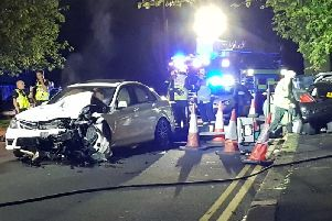 A woman was left unconscious after the crash in Abington last night.