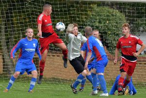 ACTION from Wootton St George's big win over Wellingborough Rising Sun in the Northants Saturday Combination (Pictures: Dave Ikin)