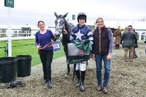 Goodnight Charlie pictured after winning at Towcester in May with jockey Sam Davies-Thomas and trainer Caroline Fryer (right)