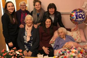 Majorie with her two daughters, one of her granddaughters and three of her great-granddaughters.