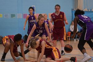 GRAB THE BALL! - action from Northants Lightning Under-16 Girls' heavy defeat to Northamptonshire Titans (Pictures: Dave Ikin)