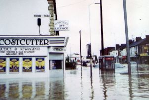 St Leonard's Road, Far Cotton, submerged in water