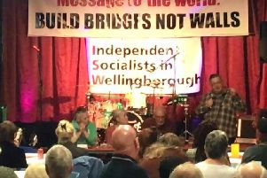 Councillor Eales speaking at the Independent Socialists in Wellingborough meeting.