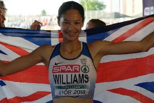 Northampton athlete Emily Williams celebrates her European Championship silver medal