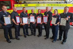 A team from Mereway station's Red Watch have been awarded a fire service commendation for assisting at a fatal minibus crash on the M1 last year.