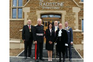 Left to right: Brackley Town Mayor Cllr Mark Morrell; HM Lord Lieutenant David Laing; Andrea Curtis; Chairman of Northamptonshire County Council Cllr Steve Osbourne; High Sheriff of Northamptonshire James Saunders Watson and chairman of South Northamptonshire Council Cllr Richard Dallyn.