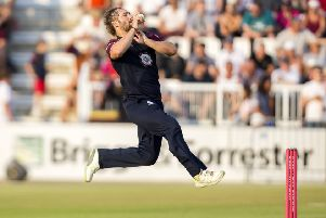 Steven Crook in T20 action for Northants against Notts Outlaws in July