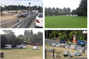 Travellers sites in Northampton and Kettering this year. In Kettering, the council has resorted to placing large rocks around the Northampton Road fields to prevent them from gaining access (bottom right). NNL-180919-143550005