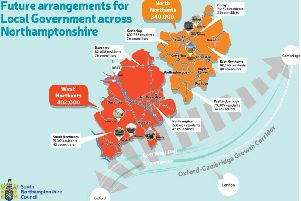 A map illustrating the proposed Local Government Reform in Northamptonshire. Photo: South Northamptonshire Council