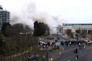 The demolition of Greyfriars Bus Station.'Blowdown Day. NNL-150316-022000009