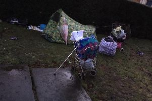 A tent in the grounds of All Saints Church is home to one of many rough sleepers in Northampton.