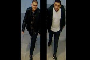 The two men pictured, or anyone with information about their identity, is asked to call police