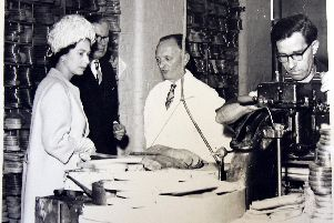 The Queen visits Churchs shoe factory, St James Northampton on a whistle-stop county visit in 1965