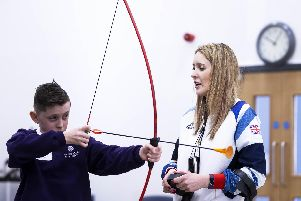 Danielle Brown hosted a half-an-hour archery session with Year 7 pupils today after she gave an inspirational talk in assembly. Pictures: Kirsty Edmonds.