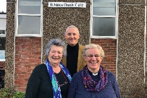 Duston Parish Councillor Sandie Maitland with regional link for Renew Wellbeing Chris Davidson and reverend Mandy Marriott.