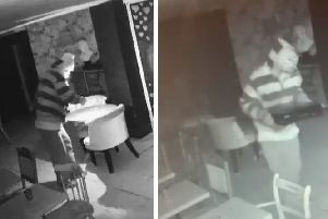 A side-by-side of the images captured on Dapper Sandwich's CCTV cameras in January and February.