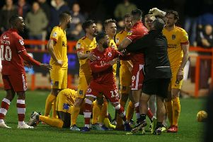 Tempers boiled over when Cobblers played at Crawley in December as Ollie Palmer saw red for elbowing Aaron Pierre. Pictures: Pete Norton/Getty Images
