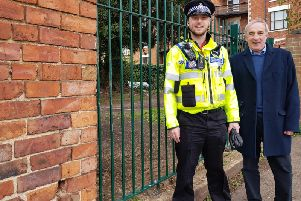 PCSO James Wetherall and councillor Les Marriott have been the driving force behind getting the fence installed.