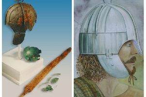The items uncovered at the burial site alongside an artist's impression of the 'Wollaston warrior' (Picture: MOLA)