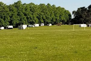 Travellers at Kingsthorpe Rec Ground earlier this week
