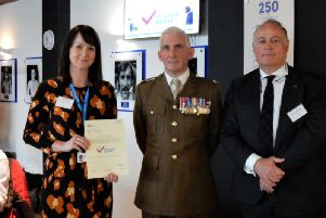 Ruth Smith from Veteran Aware pictured with Major Paul Shipley MBE RA, and Professor Tim Briggs, NHS National Director of Clinical Improvement and Co-Chair of the Veterans Covenant Hospital Alliance.